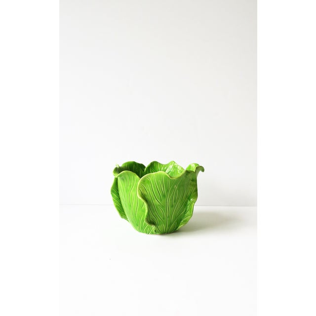 French Green Lettuce or Cabbage Leaf Cachepot by Jean Roger, Paris, France For Sale - Image 9 of 13