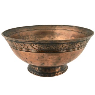 Antique Kafkas Copper Bowl With Hand-Embellished Detailing For Sale