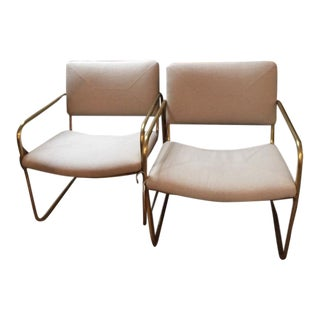 Mid Century Tubular Brass Chairs - A Pair For Sale
