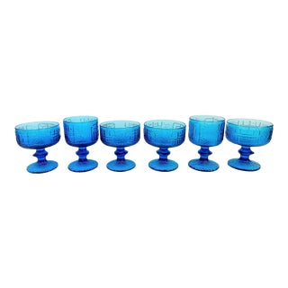 Turquoise Compote Bowl and Goblet Glasses - Set of 6 For Sale