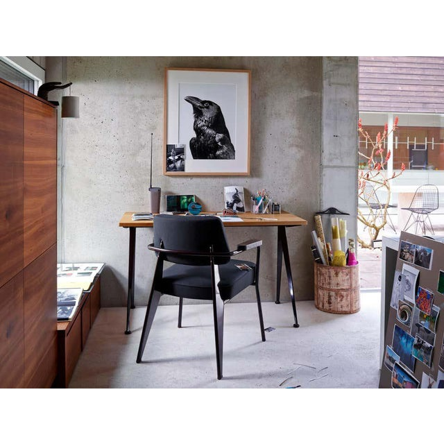 Vitra Jean Prouvé Compas Direction Desk in Natural Oak and Black Metal for Vitra For Sale - Image 4 of 9