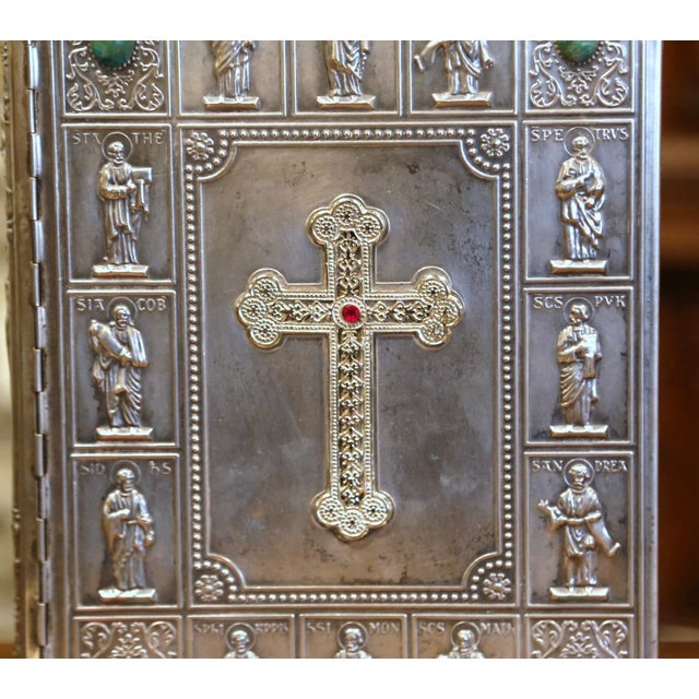 Midcentury French Holy Bible With Silver Plated Repousse Cover Dated 1960 For Sale - Image 4 of 8