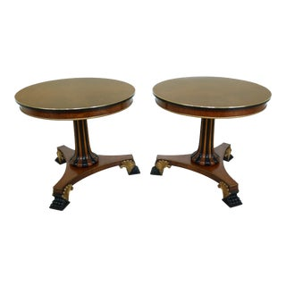 Pair Vintage Round Burl Elm Empire Occasional Tables For Sale