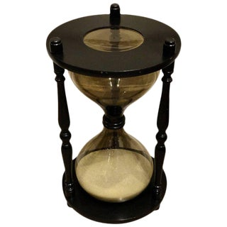Oversized Ebonized Hourglass Side Table For Sale