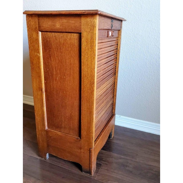 Mid-Century Danish Modern Tiger Oak Tambour Cabinet For Sale - Image 4 of 11