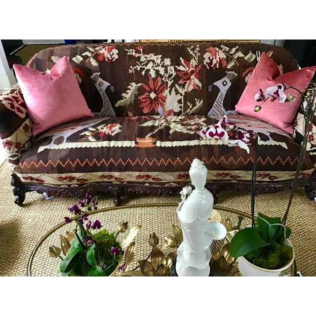 Antique French Serpentine Sofa Upholstered in Antique Karabagh Peacock Kilms For Sale - Image 11 of 13