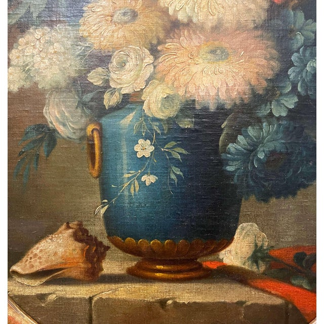 19th Century French Oval Oil on Board Floral Painting in Carved Gilt Frame For Sale - Image 4 of 12