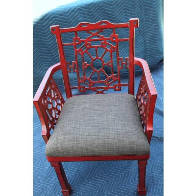 Asian Uttermost Camdon Red Accent Chair For Sale - Image 3 of 6