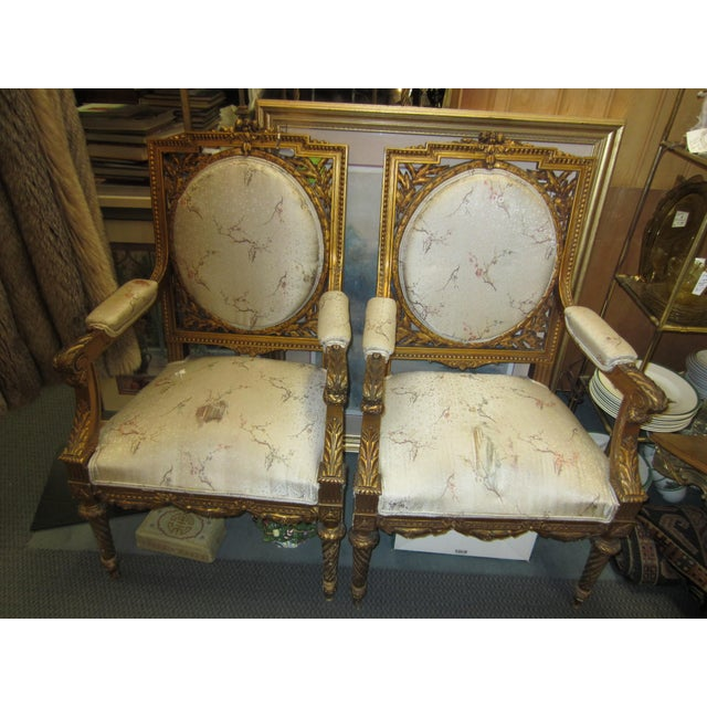 Antique French Giltwood Fauteuil Chairs - A Pair - Image 2 of 9