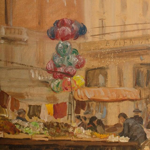 "1940s ""Market in Milan"" Street Scene Oil Painting by Joshua Felise Ziro Brevio For Sale In Philadelphia - Image 6 of 13"