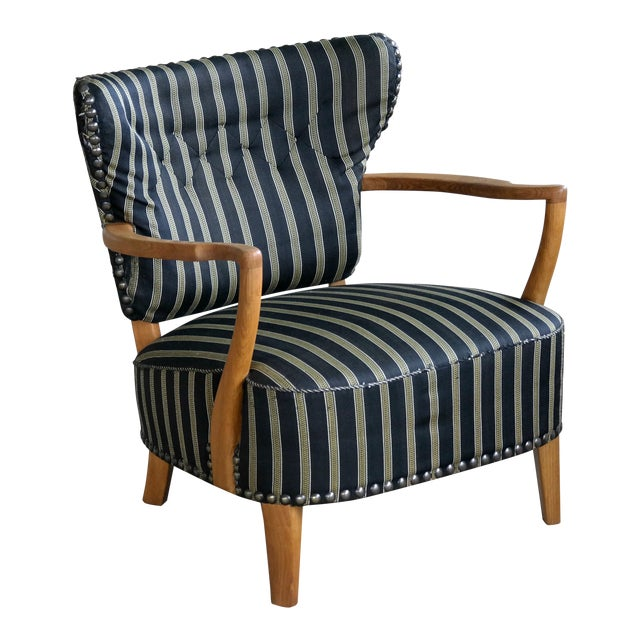 Otto Schulz Style Lounge Chair in Oak With Brass Tacks Danish Midcentury For Sale