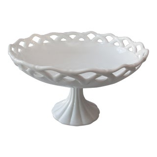 Mid 20th-Century Large Milk Glass Compote For Sale