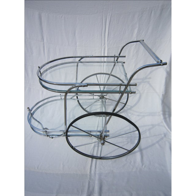 Italian Chrome Bar Cart - Image 3 of 6