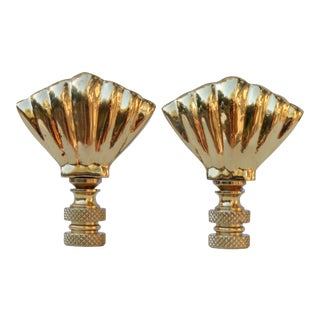 Brass Shell Lamp Finials - a Pair For Sale