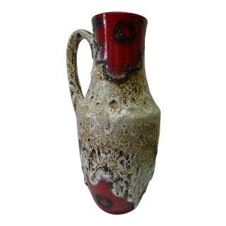 West German Scheurich Handled Fat Lava Vase For Sale