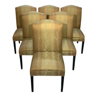 Set of 6 Dining Chairs With Gold & Green Bamboo Fabric For Sale