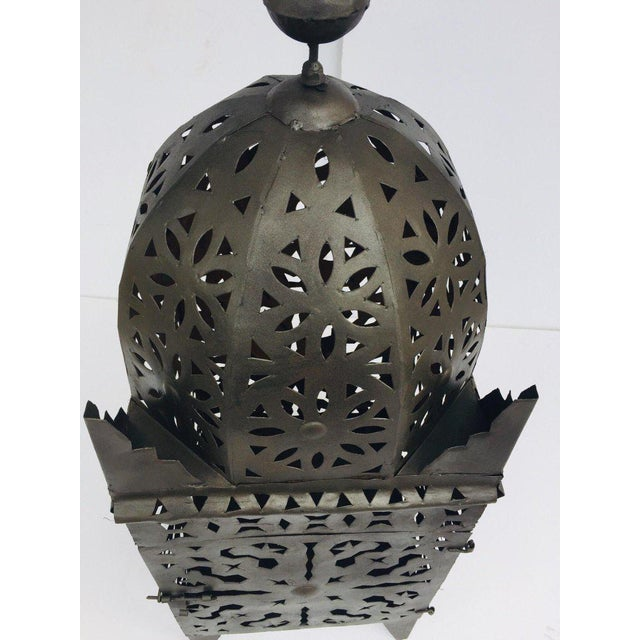 Large Moroccan Hurricane Metal Candle Lantern For Sale - Image 9 of 13