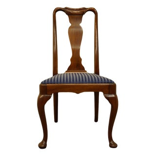 High End Solid Walnut Traditional Style Splat Back Dining Side Chair For Sale