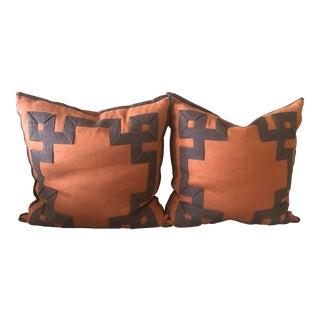 Orange Linen Ryan Studio Pillows With Fretwork - a Pair For Sale