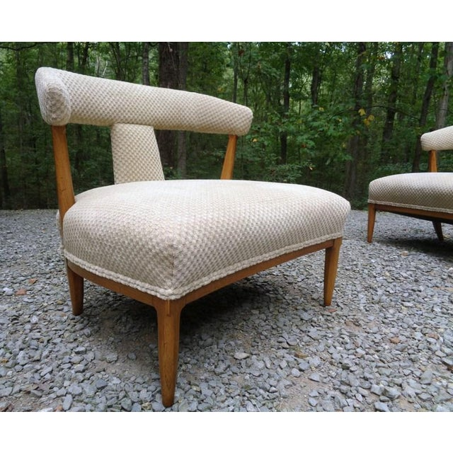 These chairs are truly stunning! A rare pair of chic 1950s Tomlinson Sophisticate slipper chairs in excellent condition....