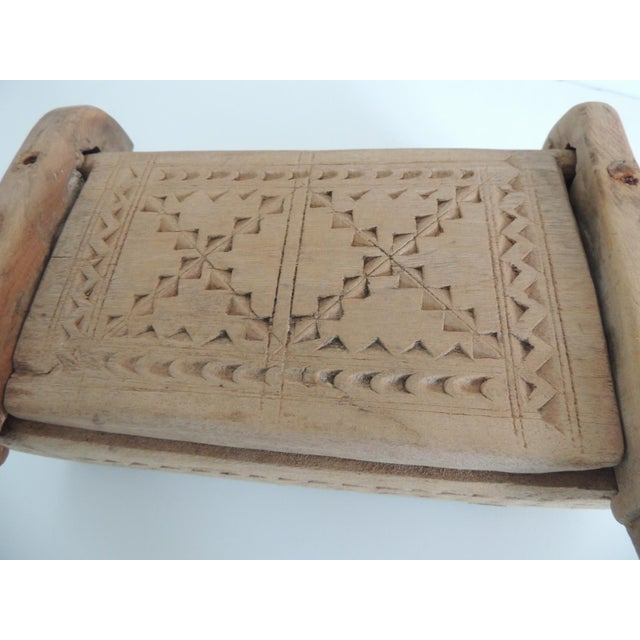 Vintage Indian Market Hand Carved Wooden Box With Lid and Carving Details For Sale - Image 4 of 6