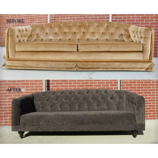 Charcoal Tufted Vintage Sofa - Image 8 of 10