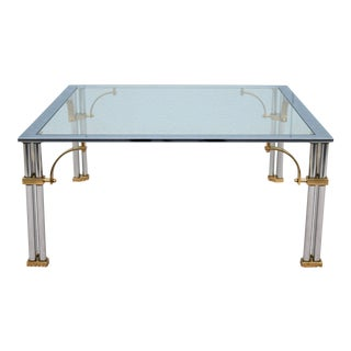 Mid-Century Modern Maison Jansen Style Brass Chrome and Glass Square Coffee Table For Sale