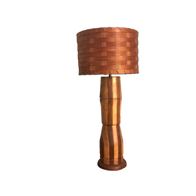 Rustic Wood Table Lamp For Sale - Image 4 of 4