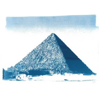 Egyptian Pyramid, Handmade Cyanotype Print on Watercolor Paper. Limited Edition For Sale