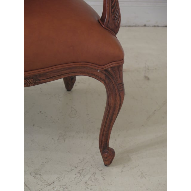 1990s 1990s Vintage Ethan Allen French Louis XV Style Leather Arm Chair For Sale - Image 5 of 10