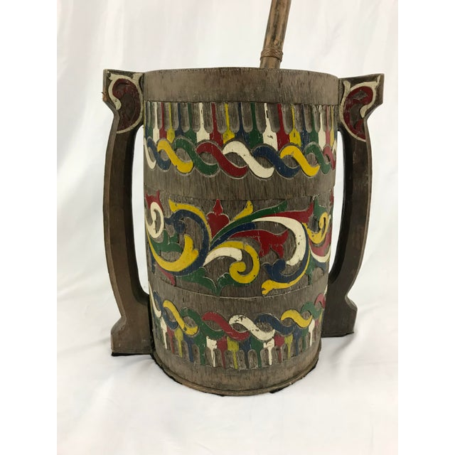 Polychrome Painted Carved Wooden Water Bucket With Ladle For Sale - Image 4 of 7