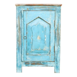 Indo-French Turquoise Night Stand For Sale
