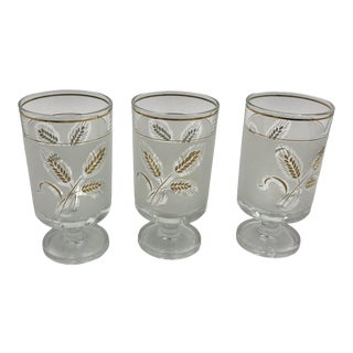 1950s Mid-Century Modern Frosted and Transparent With Gold Wheat Motif Pedestal Glasses - Set of 3 Made in Italy For Sale