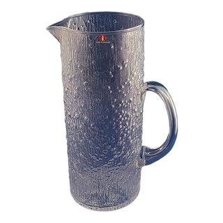 Vintage Mid Century 1960s I-Lasi Iittala Hopla Textured Glass Pitcher #2427 For Sale