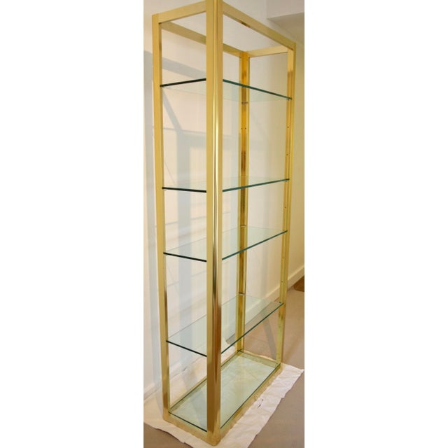 Hollywood Regency Milo Baughman Style Brass Etagere Shelving Unit For Sale - Image 3 of 11