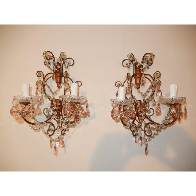French Maison Baguès Style Pink Floral Crystal Sconces, circa 1920 For Sale - Image 11 of 11