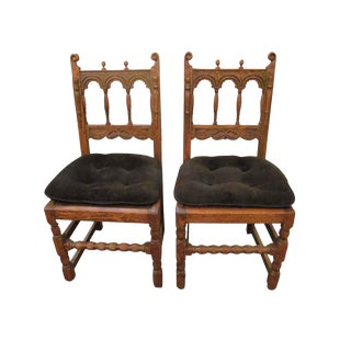 Early 20th Century Vintage Carved Solid Wood Chairs- A Pair For Sale