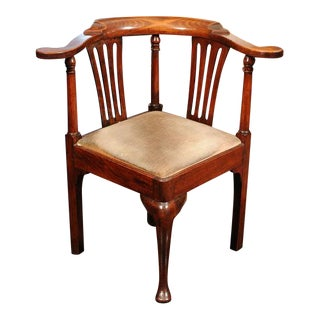 Mid 18th Century Vintage Georgian Fruitwood Corner Chair For Sale