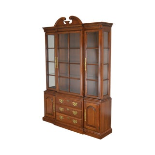 Harden Solid Cherry Traditional China Cabinet Breakfront For Sale