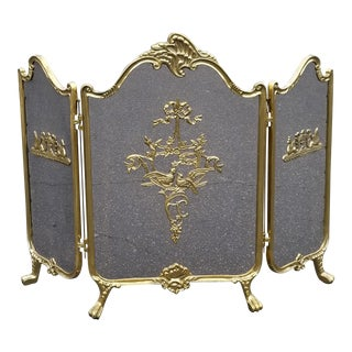 Vintage French Provincial Gold Brass Fireplace Screen For Sale