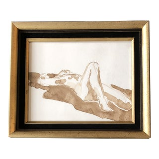 Vintage Original Male Nude Abstract Watercolor Painting Vintage Frame W/Velvet Liner For Sale