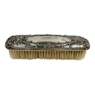 Sterling Silver Early 1900s Monogrammed Clothing Brush For Sale