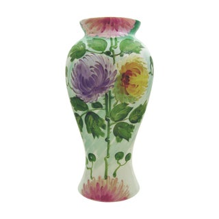 Large Hand Painted Pink & Purple Flowers Glass Vase For Sale