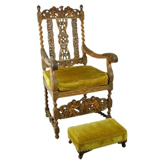 Antique Carved Renaissance Style Throne Chair & Footstool - A Pair