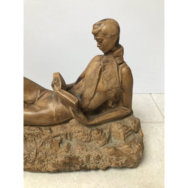 Clay Reading Boy Sculpture - Image 3 of 6