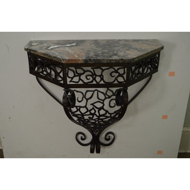 Glass Art Deco Oscar Bach Style Iron Marble Top Wall Console w/ Mirror For Sale - Image 7 of 10