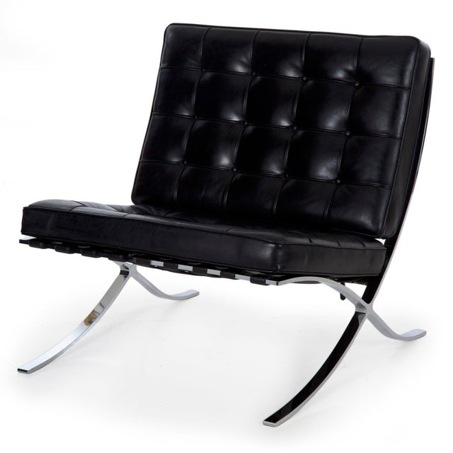 Mid Century Modern Black Leather and Chrome Steel Barcelona Chair, Circa 21st Century For Sale - Image 13 of 13