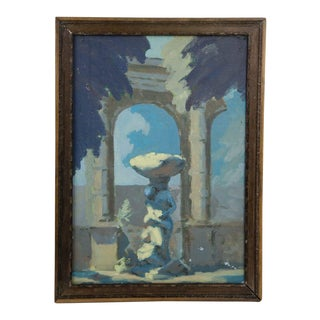 Late 19th Century Antique Classical Courtyard Signed Oil on Cardboard Painting For Sale