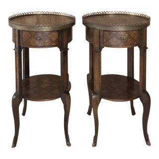 Pair French Louis XVI Marquetry Nightstands ~ End Tables For Sale