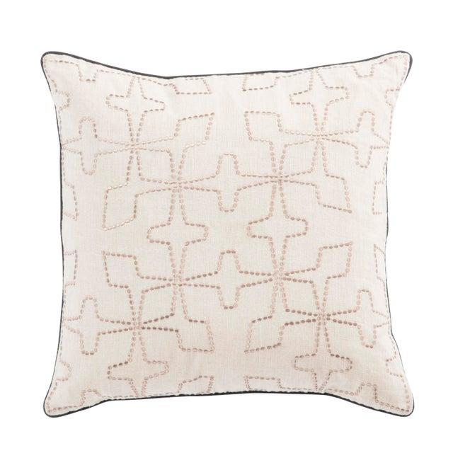 Contemporary Nikki Chu by Jaipur Living Greta Cream/ Beige Geometric Poly Throw Pillow For Sale - Image 3 of 3